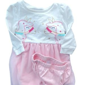 Carter's 9m lama dress with diaper cover